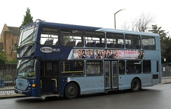 A Metrobus double-decker bus at Crawley bus station