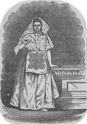 A woman dressed in the robes of the Nauvoo endowment, circa the 1870s.