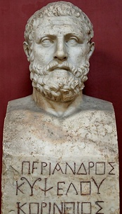 "Bust of Periander bearing the inscription ""Periander, son of Cypselus, Corinthian"". Marble, Roman copy after a Greek original by Kresilas, 4th century"