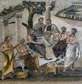 Mosaic from Pompeii depicting the Academy of Plato