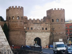 Porta San Paolo, a gate in the Aurelian Walls, built between 271 AD and 275 AD. During the Gothic Wars of the mid-6th century, Rome was besieged several times by Byzantine and Ostrogoth armies. Ostrogoths of Totila entered through this gate in 549, because of the treason of the Isaurian garrison.