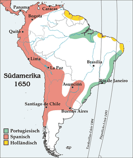 The meridian to the right was defined by Inter caetera, the one to the left by the Treaty of Tordesillas. Modern boundaries and cities are shown for purposes of illustration.