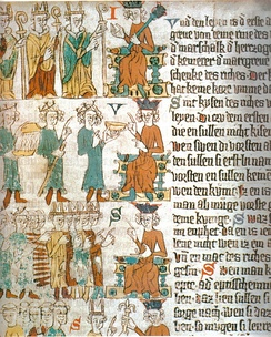 Choosing the king. Above: the three ecclesiastical princes choosing the king, pointing at him. Middle: the Count Palatine of the Rhine hands over a golden bowl, acting as a servant. Behind him, the Duke of Saxony with his marshal's staff and the Margrave of Brandenburg bringing a bowl of warm water, as a valet. Below, the new king in front of the great men of the empire (Heidelberg Sachsenspiegel, around 1300)