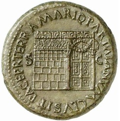 The temple of Janus with closed doors, on a sestertius issued under Nero in 66 AD from the mint at Lugdunum