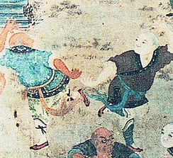Depiction of fighting monks demonstrating their skills to visiting dignitaries (early 19th-century mural in the Shaolin Monastery).