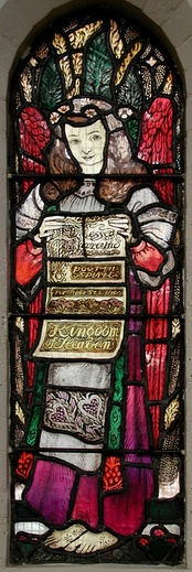 "Stained glass by Hallward depicting Matt 5:10: ""Blessed are the poor in spirit: For theirs is the Kingdom of Heaven""."