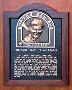 Plaque of Ted Williams in Boston Red Sox Hall of Fame at Fenway Park.