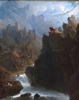 """The Bard"" by John Martin: a romantic vision of a single Welsh bard escaping a massacre ordered by Edward I of England, intended to destroy Welsh culture"