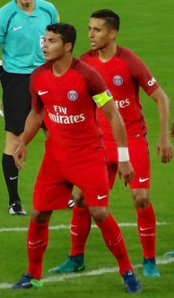 Marquinhos (right) has been likened to his club and national teammate Thiago Silva (left)