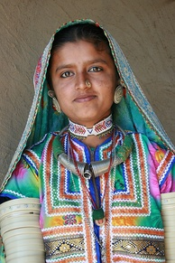 Woman of Banni tribe in traditional attire from Gujarat