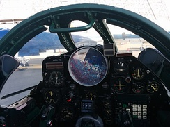 U-2 pilot's view in the cockpit: The large circular monitor is vital for navigation, evading MiGs and Surface-to-Air missiles as early as possible.