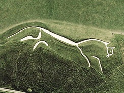 Aerial view of the very stylized prehistoric Uffington White Horse in England