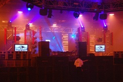 An example of a rig including moving head, generic and LED fixtures at 'The Tuesday Club'