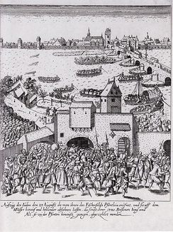 Etching of the expulsion of the Jews from Frankfurt in 1614