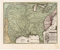 Weigel's map (1719) intended to promote sales of the Mississippi Company in Germany.