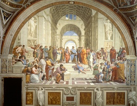 Raphael's School of Athens, depicting an array of ancient Greek philosophers engaged in discussion.