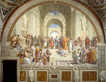 The School of Athens (1509-1511) by Raphael, depicting famous classical Greek philosophers in an idealized setting inspired by ancient Greek architecture