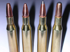 .270 ammunition. Left to right: 100-grain (6.5 g) – hollow point 115-grain (7.5 g) – FMJBT 130-grain (8.4 g) – soft point 150-grain (9.7 g) – round nose