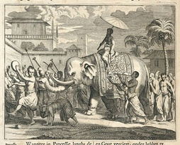 Dutch painting of the Buddhist religious festival in Ceylon, c. 1672