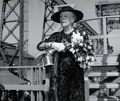 Alice Roosevelt Longworth christening the submarine named after her father, the USS Theodore Roosevelt, in 1959