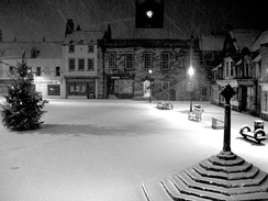 Alnwick marketplace at night in winter