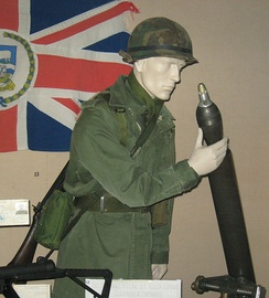 Captured Argentine infantry equipment on display in the Imperial War Museum