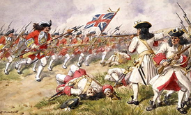 The Battle of Ramillies, the 16th Foot charging the French infantry.