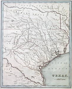Map of the Republic of Texas by Thomas Gamaliel Bradford, 1838