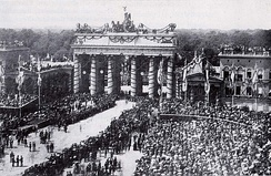 The Brandenburg Gate in 1871 with decorations and victorious Prussian troops after the Franco-Prussian War