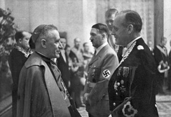 Cesare Orsenigo, Pius XII's nuncio to Germany throughout World War II, with Hitler and Joachim von Ribbentrop