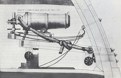 Diagram of a carronade mounting. The lack of a nozzle or muzzle cup suggests this carronade pre-dates ca. 1790, and it must date to 1785 or earlier as a copy of this drawing in the Dutch archives bears that date.