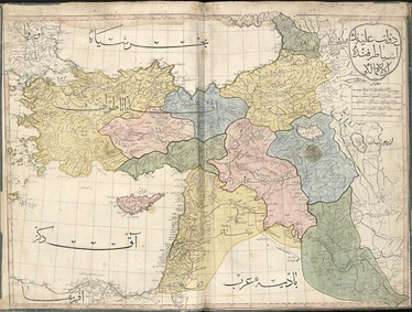 "The 1803 Cedid Atlas, showing the area today known as Iraq divided between ""Al Jazira"" (pink), ""Kurdistan"" (blue), ""Iraq"" (green), and ""Al Sham"" (yellow)."
