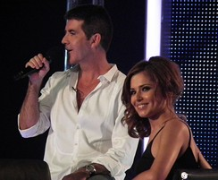 Judges Simon Cowell and Cheryl Cole during filming of the London auditions for series 7