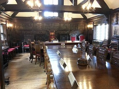 The historic council chamber, Much Wenlock, dating from 1577 and still in use today by the town council