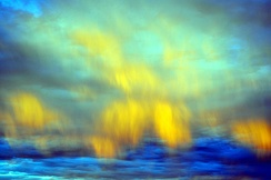 Down draft winds with associated virga allow these clouds in the eastern sky at civil twilight to mimic aurora borealis in the Mojave desert