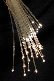 Bundle of glass threads with light emitting from the ends