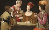 Georges de La Tour, The Cheat with the Ace of Clubs, c. late 1620s, another version is in the Louvre