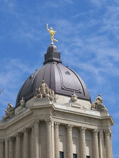 The Golden Boy atop the Manitoba Legislature