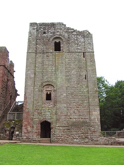 A photograph of the keep at Goodrich Castle in the 21st century