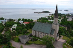 Evangelical Lutheran Church of Hanko from the Hanko water tower.