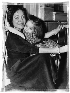 Helen Hayes and young patient at Helen Hayes Hospital 1945
