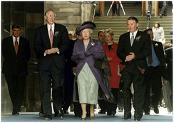 Queen Elizabeth II at the opening of the Scottish Parliament on 1 July 1999 alongside then First Minister of Scotland Donald Dewar and then Presiding Officer Lord Steel of Aikwood