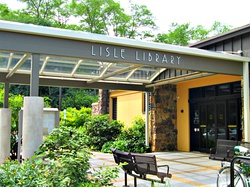 Lisle Library District entrance canopy.