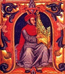 Francesco Landini, the most famous composer of the Trecento, playing a portative organ (illustration from the Fifteenth-century Squarcialupi Codex)