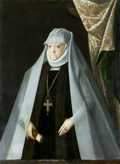 16th century wimple, worn by a widowed queen Anna of Poland, with veil and a ruff around the neck.