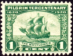 One-cent U.S. stamp for the tercentenary, depicting the Mayflower
