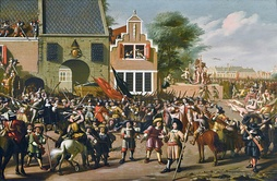 A painting depicting the phases of the murder of the De Witts