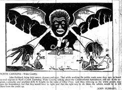 """Negro Rule: Vampire over N.C."" The News & Observer.Illustration by Norman Jennett.Sep 27, 1898"