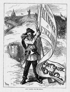 A cartoon from Harper's Weekly suggests that defeated Confederates will overturn the results of the Civil War should Hancock be elected.