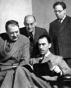 Maxwell Anderson, S. N. Behrman, Robert E. Sherwood and Elmer Rice, four of the five founders of the Playwrights' Company (1938)